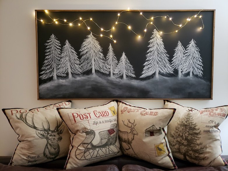 Chalkboard with Christmas trees