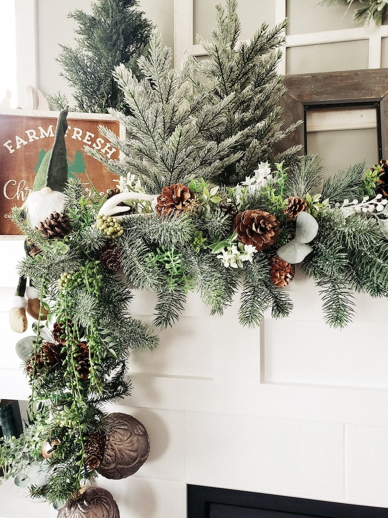Greenery on the Christmas mantle