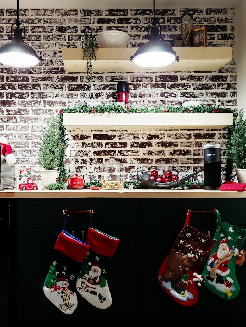 Dry bar nook with Christmas decorations