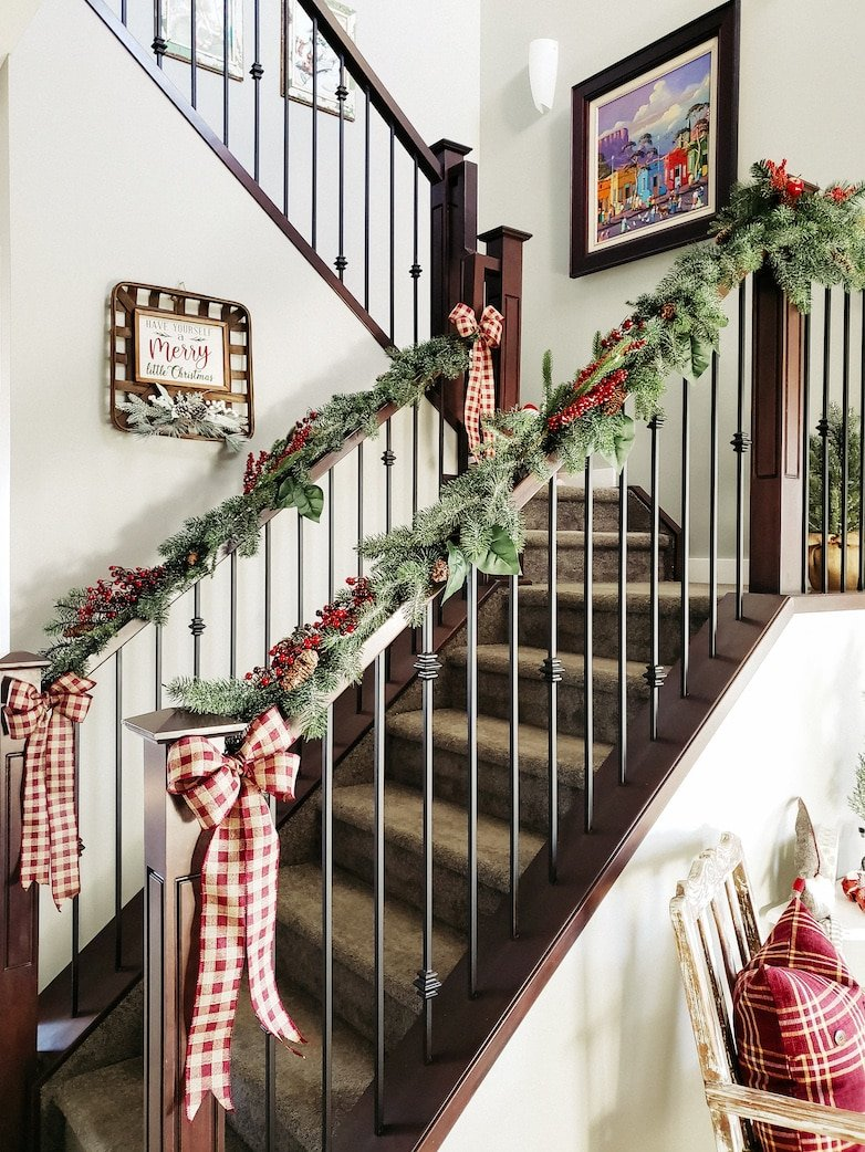 Garland and ribbon on the banisters