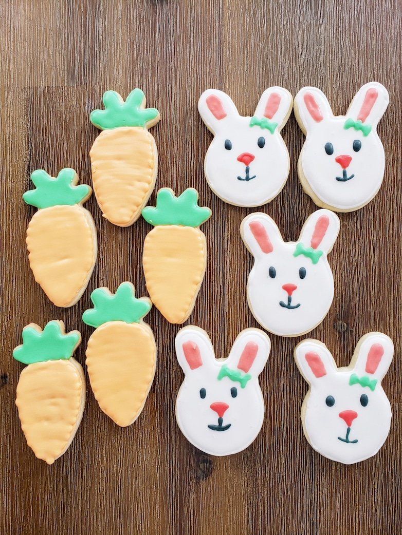 Carrot and bunny sugar cookies