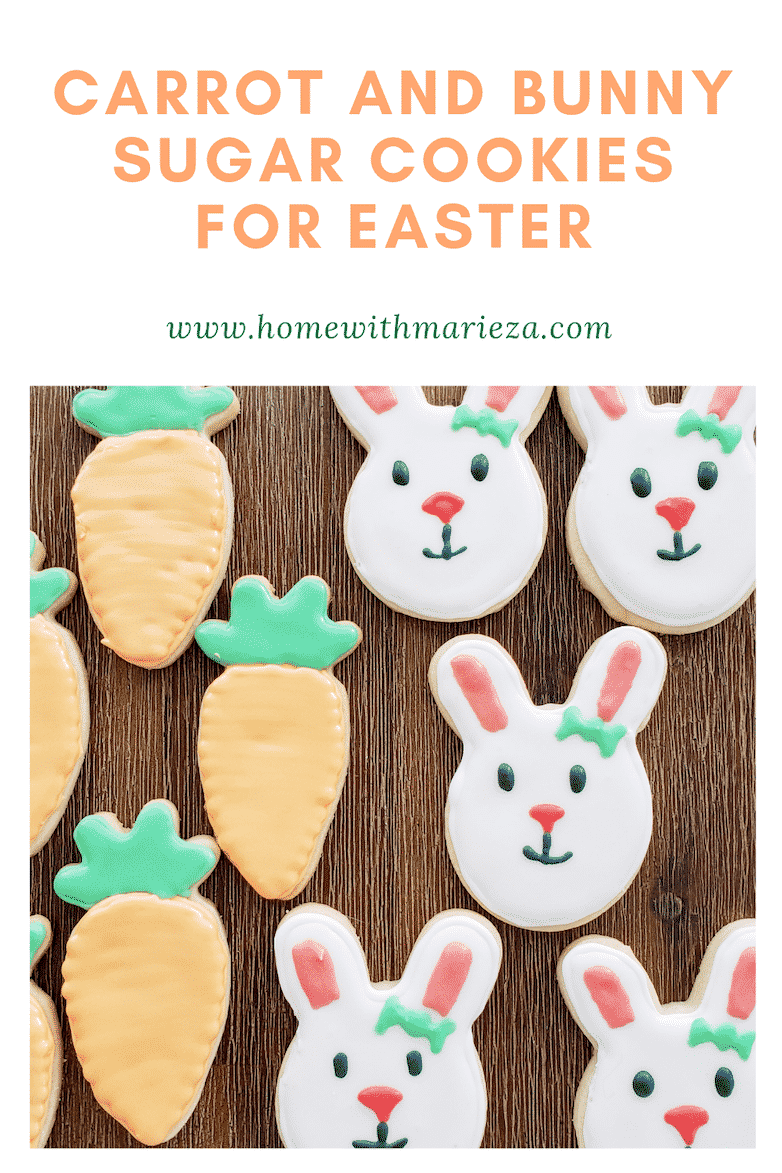 Pinterest pin of carrot and bunny sugar cookies