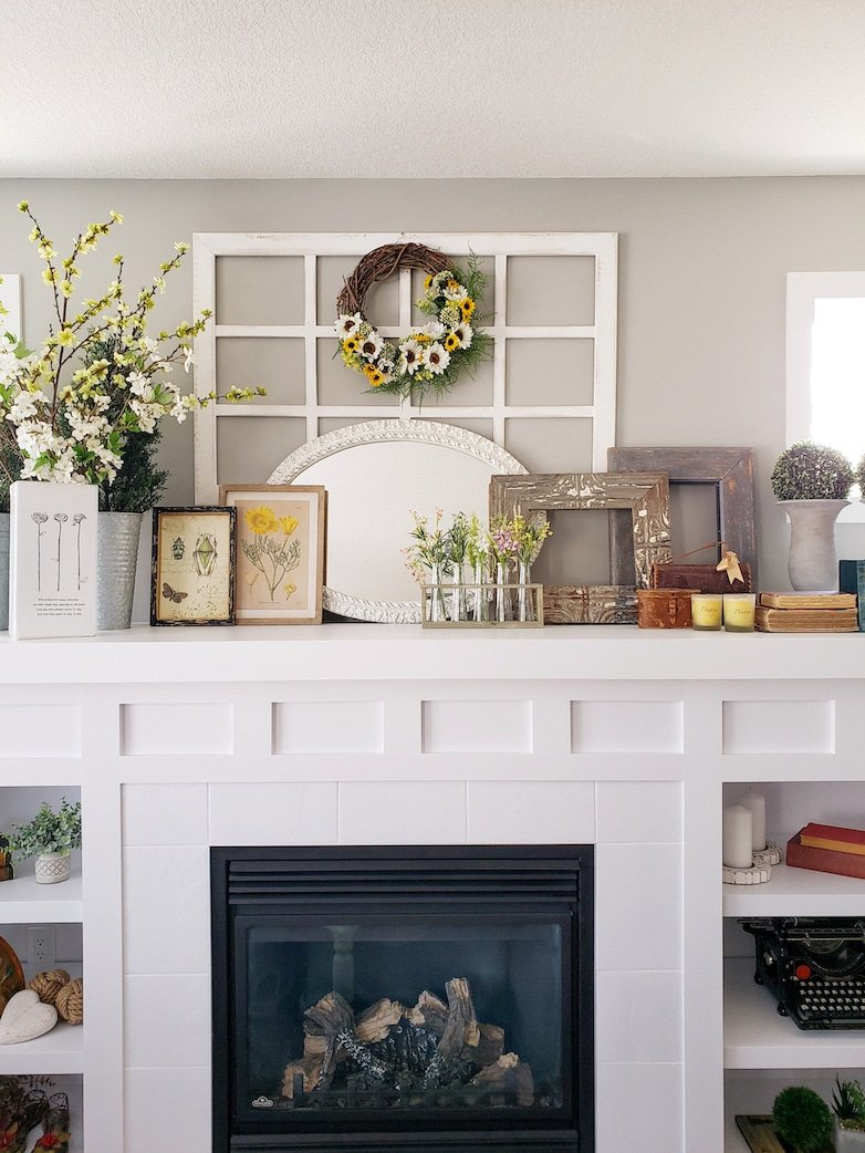 Mantle decor for spring and summer