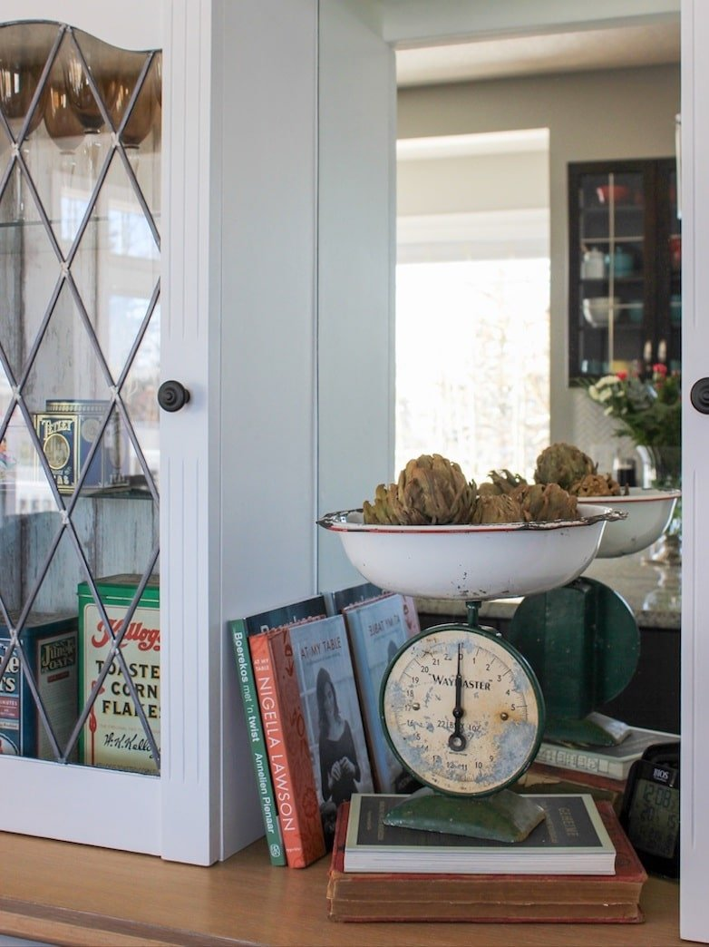 Styling a hutch after it's makeover