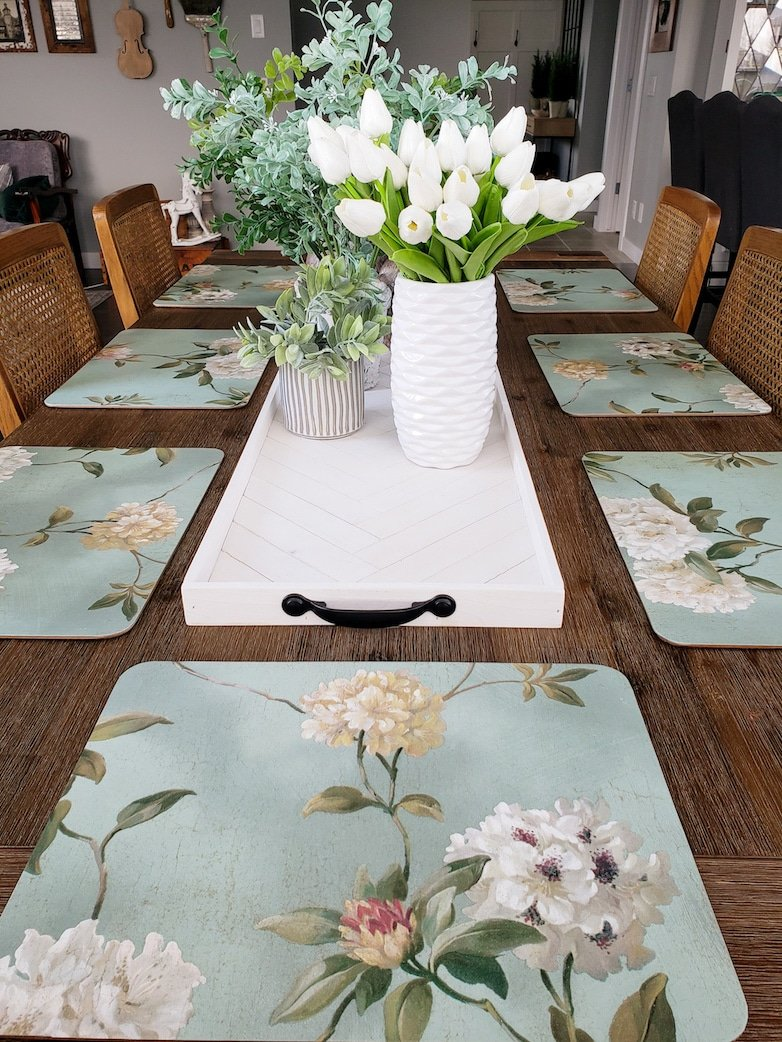 Placemats covered with floral wallpaper