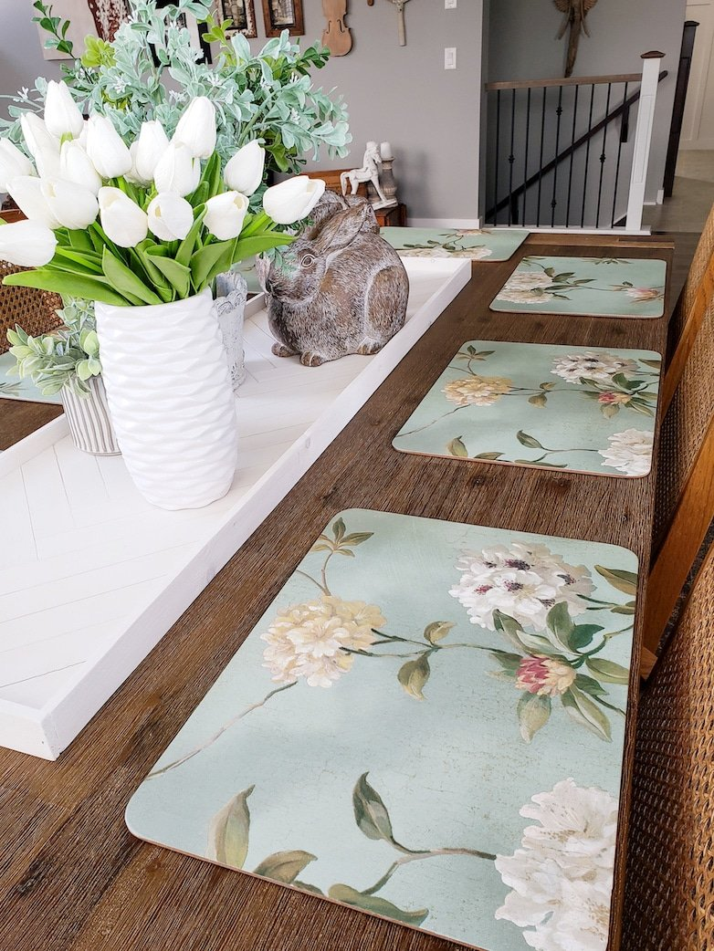 Beautiful placemats created with leftover wallpaper
