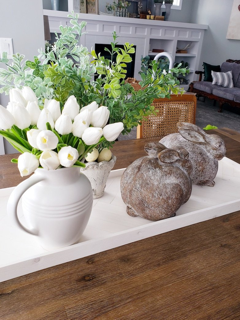 Tulips and bunnies as spring decor