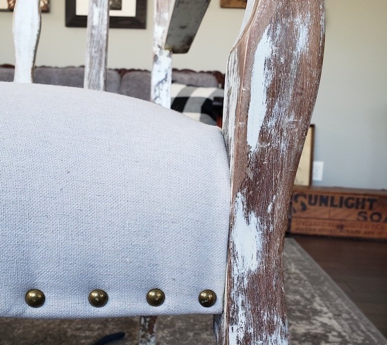Chair makeover with upholstery tacks
