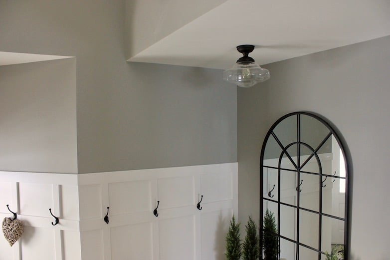 Smoothed out ceilings as part of the DIY entryway makeover