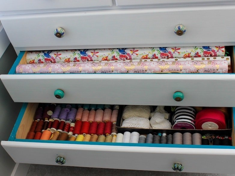Storage for everything from sewing supplies to wrapping pape