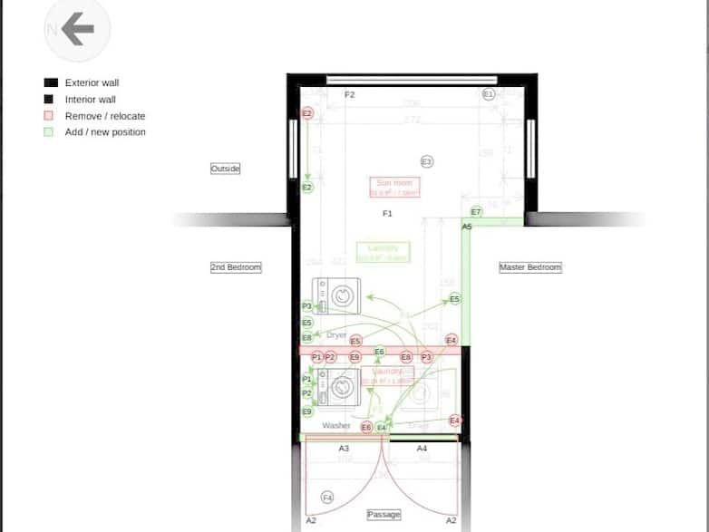 Floor plan showing showing changes