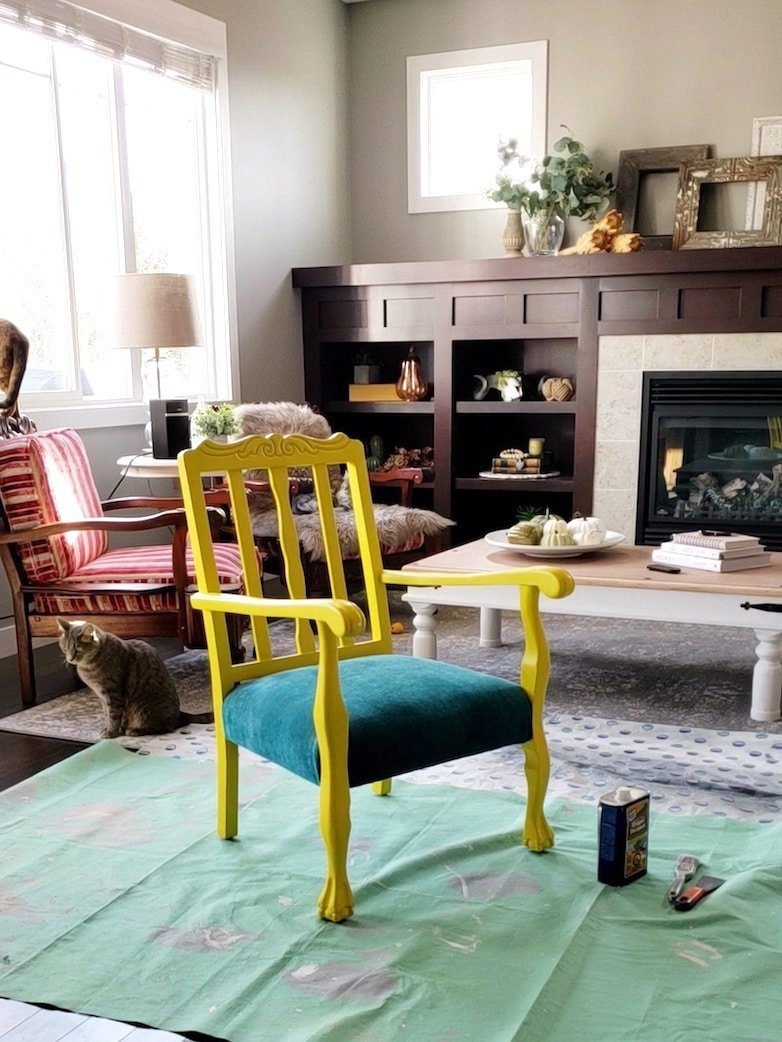 Yellow painted chair 2