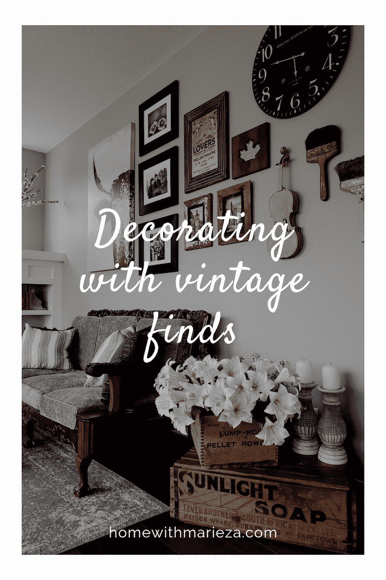 Decorating with vintage finds pin
