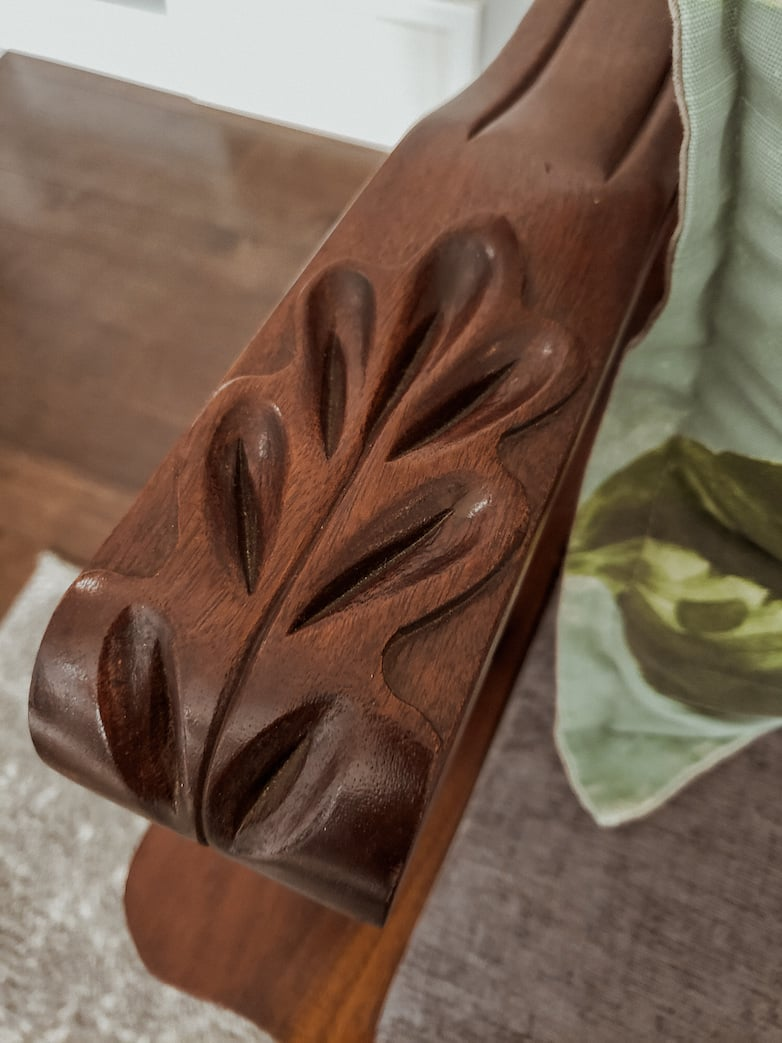 Wood carved detail on a couch