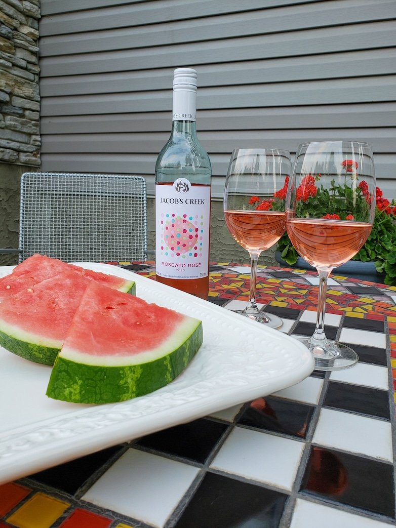 Watermelon and wine for two