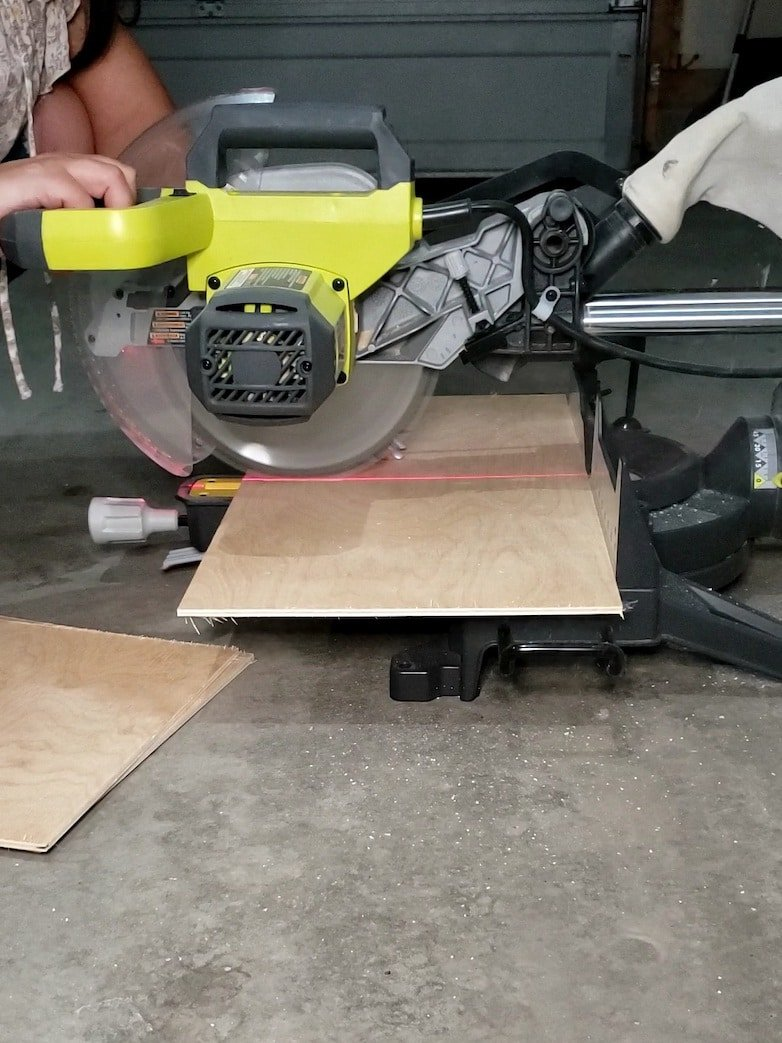 Cutting pieces of plywood