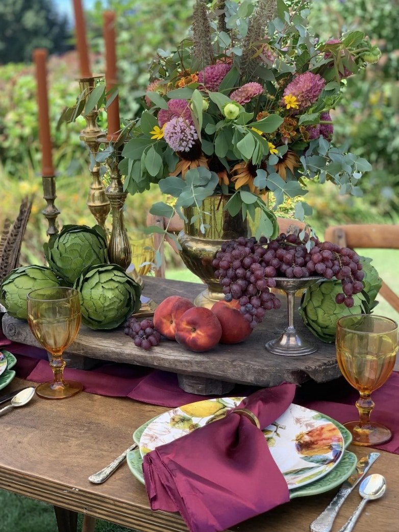 Fall tablescape in green and purple