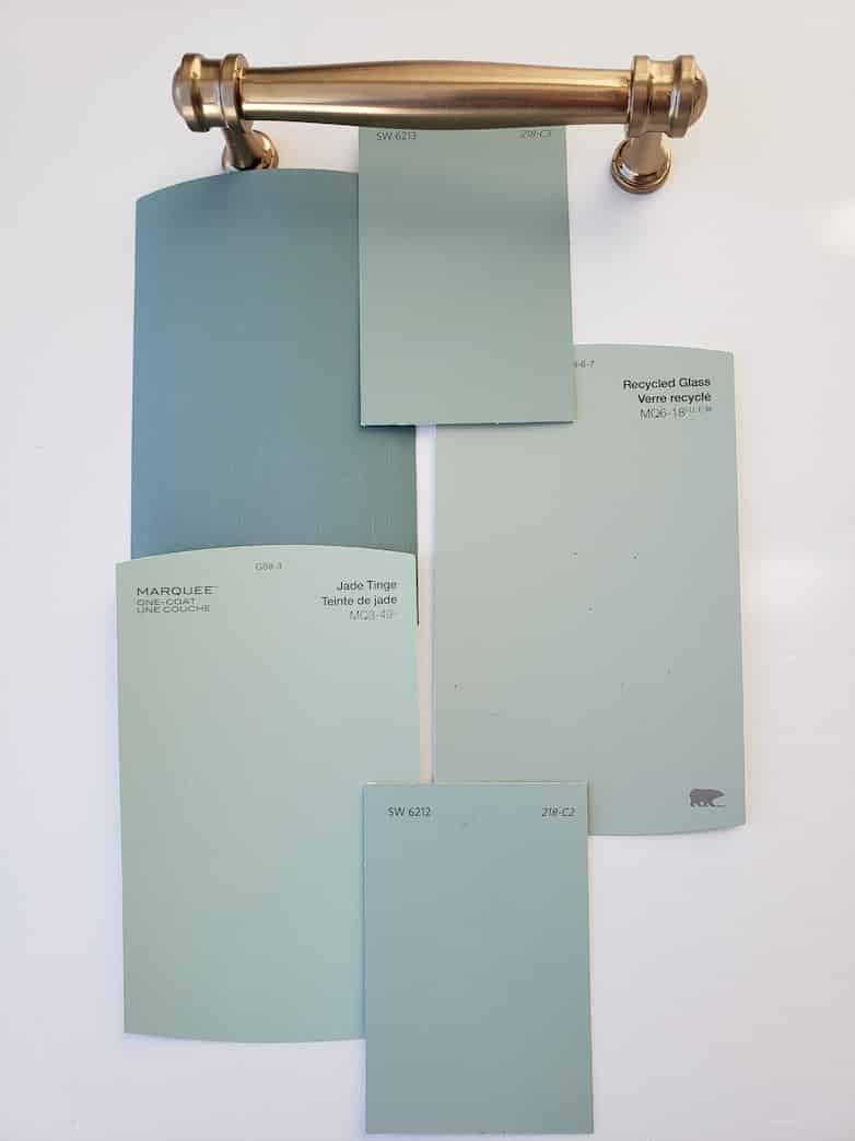 color swatches and hardware for kitchen makeover